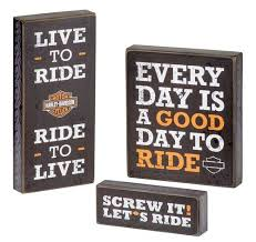 Harley Davidson Signs Decor HarleyDavidson Wooden Harley Motto Pub Signs Set Of Three 2