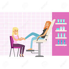 woman enjoying a foot massage at spa or beauty salon colorful cartoon character vector stock