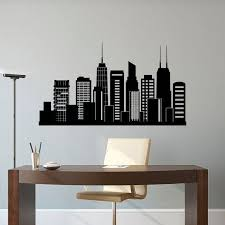 astounding ideas chicago wall decor modern home skyline decal city silhouette illinois office business college dorm