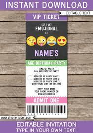 Party Ticket Invitations Inspiration Emoji Party Ticket Invitations Template Editable Emoji Theme Invite
