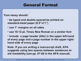 purdue owl apa style guide  publication manual 7 general format your essay