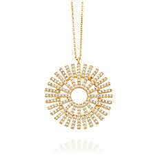 astley clarke large rising sun diamond pendant necklace yellow gold solid