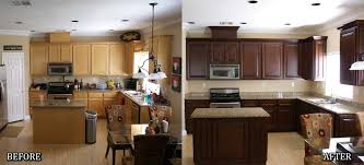 bright color to dark color kitchen cabinet in before and after refacing kitchen cabinet ideas
