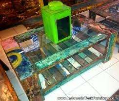 bt2 4 coffee table glass top reclaimed boat wood furniture bali bt2 8 rustic wood furniture