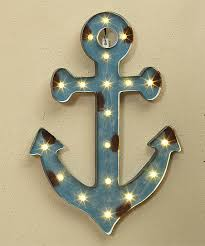 lighted metal boat anchor wall décor