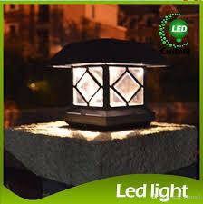 2018 led solar light solar post llights outdoor solar head lamp wooden solar garden light fence light waterproof led wall lamp solar street lamps from