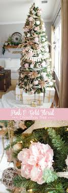 GORGEOUS Pink + Gold Floral Christmas Tree :: Love the peonies!  MichaelsMakers