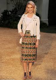 practical fashion january jones made a notable arrival in a patterned pencil skirt and white