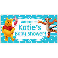 baby shower banners winnie the pooh piglet tiger baby shower banner custom personalized