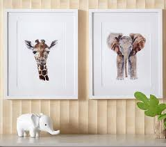 >giraffe elephant framed art pottery barn kids