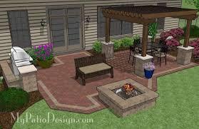 backyard brick patio design with