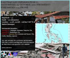 The best independent earthquake reporting website in the world looking for a recent quake? Source Quezon City Disaster Risk Reduction And Management Council Facebook