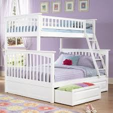 white full over queen bunk bed with staircase and drawer storage
