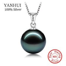 whole big 90 off original flawless black pearl pendant necklace with solid 925 silver chain necklace wedding jewelry for women n001 name necklace