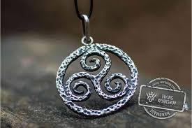 spiral triskele symbol pendant sterling silver viking jewelry viking work