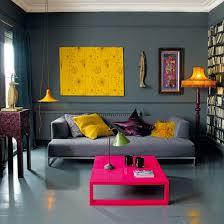 grey living room with bright colors