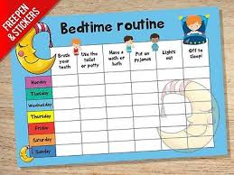 Childrens Sticker Chart Bedtime Nightime Routine Reward Chart Kids Childrens