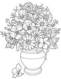 花瓶の花 細かくてお花いっぱいの塗り絵ぬりえ無料イラスト