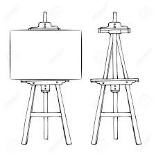 wooden painting easel with blank canvas cartoon black and white