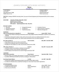 How Much Work History On Resumes Sample Work History Template 9 Free Documents Download In