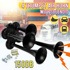<b>12V</b>/<b>24V 150DB</b> Super Loud Universal 4 Trumpet Air Horn Heavy ...