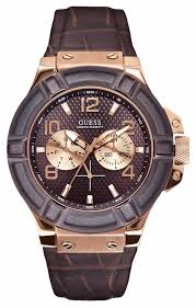 guess mens rose gold leather strap watch w0040g3 guess w0040g3