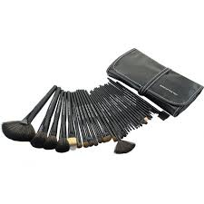 32 pcs professional makeup brushes set w black roll up leather case chicleader