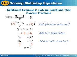 additional example 2 solving equations that contain fractions