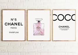 set of 3 inspired coco chanel art