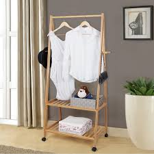 Amazon.com: SONGMICS Bamboo Garment Coat Rack with 4 Coat Hooks 2 ...