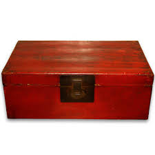 red lacquered furniture. #6471 Antique Red Lacquer Pigskin Trunk With Old Fitting Lacquered Furniture C