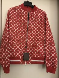 supreme x louis vuitton red leather blouson monogram er jacket