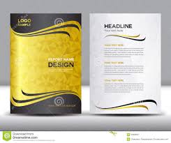 yellow brochure flyer design layout template size a4 front page gold cover annual report design vector illustration royalty stock photography