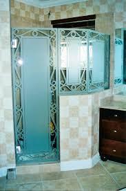 Beautiful Home Interior Decoration Using Etched Glass Door Design :  Surprising Bathroom Decoration Design Ideas Using