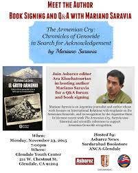 book signing flyer the armenian cry book signing to be hosted at glendale youth center