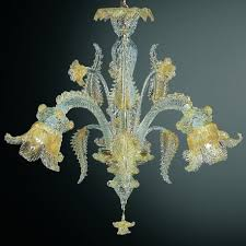 fenice 3 lights murano chandelier transpa gold color
