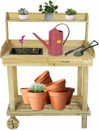 home wooden potting bench garden