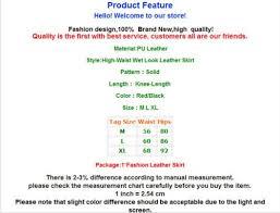 Waist To Knee Measurement Chart Women Skirts Pu Leather High Waist Black Knee Length