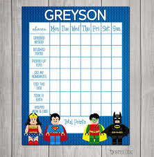 Lego Tower Of Power Reward Chart Lego Superhero Themed Chore Chart Reward Chart By Greyink