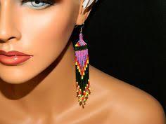 native american free spirit beaded earrings lakota by lakotacharm seed bead earrings beaded earrings