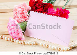 Paper Carnation Flower Beautiful Blooming Carnation Flowers With Blank Pink Card Paper On