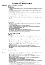 sample resume sales manager national sales manager resume samples velvet jobs