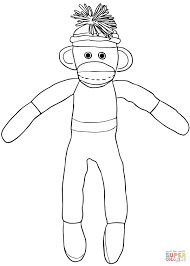 Printable Sock Monkey Coloring Pages With Christmas Sock Monkey