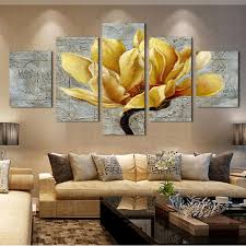 5 panel pictures canvas painting gold orchid flower painting wall art decorative canvas wall art modular on orchid canvas wall art with 5 panel pictures canvas painting gold orchid flower painting wall