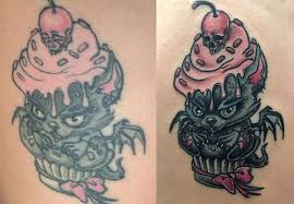 выцветание татуировки и ее обновление Bad Bird Ink