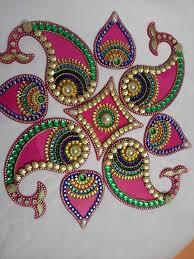 Latest Rangoli Designs For Diwali Decorated With Kundan