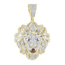 medusa lion head pendant 10k yellow gold pave set 1 0 ct diamonds custom charm men com