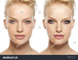 woman before and after digital makeup and retouching makeover on face transformation concept