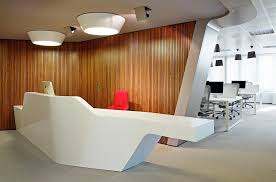 reception office design. Creative Office Reception Areas With White Table Design And Red Chair