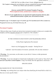 Download Provisional Patent Application Template Word